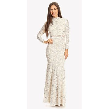 Long Sleeve Lace Full Length Dress Ivory/Gold Mock 2 Piece High Neck