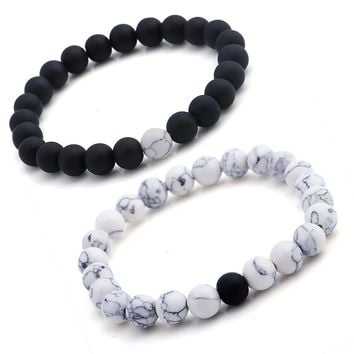 QIYIGE Couples Distance Bracelet Classic Natural Stone Lovers Gifts Jewelry Yin Yang Braclets Jewelry