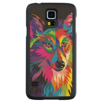 Colorful Wolf Carved® Maple Galaxy S5 Slim Case