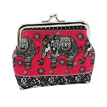 Women Wallets Elephant Floral Purse Female Clutch Coin Purse Ladies Wristlet #LREW