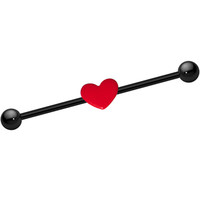 14 Gauge Black Titanium Red Heart Industrial Barbell 37mm | Body Candy Body Jewelry