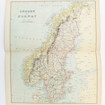 Antique Map of Sweden and Norway, 1880's Sweden Map,  Antique map of Norway