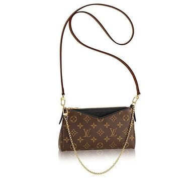 CREYDC0 Authentic Louis Vuitton Monogram Canvas Pallas Clutch Handbag Noir Article: M41639 Made in France