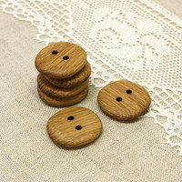 Wooden buttons. Set of 6 natural oak wood buttons size 1 in (25mm) - O2943