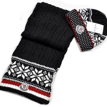 Moncler New fashion two piece stripe retro flower leaf scarf Floral Hairball knit cap Black