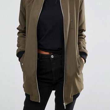 Missguided Tall Shearling Lined Longline Bomber Jacket at asos.com