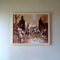 MID CENTURY OIL Painting - Boris Chezar Original -  Impressionistic Pallet Knife Painting  - Oil and Sand - Cityscape - Horses - Fabulous