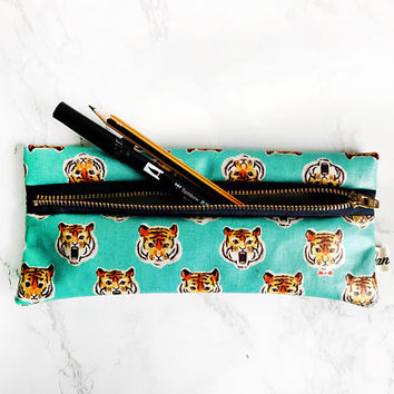 Tokyo Tiger Waterproof Pencil Case, Tiger print gifts, Slim Pencil Case, Pen Pouch, Vegan Pencil Case, Brush bag,School Supplies,Tiger gifts