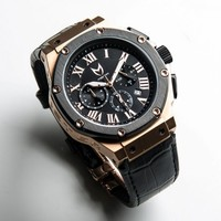 Shop :: What's New :: Meister Watches Ambassador Leather Band - Rose Gold /Black with Croc Leather -