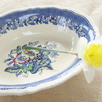 Antique Blue and White Ridgways Devon Ware Floral Platter, Cottage Style, Flow Blue Style, English Bone China