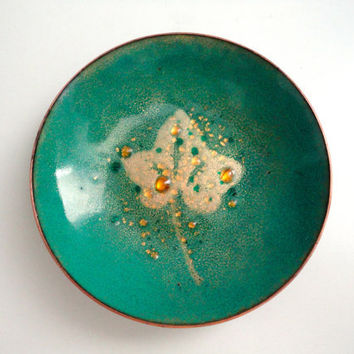 Mid Century Enamel Dish in Green, Teal and Gold with Copper Rim Perfect for Holding Jewelry