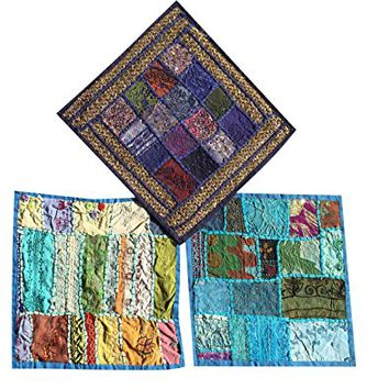 "Set Of 3 Boho Decorative Indian Throw Pillow Cases Blue Embroidered Patchwork Cushion Cover 16 "" x 16 """