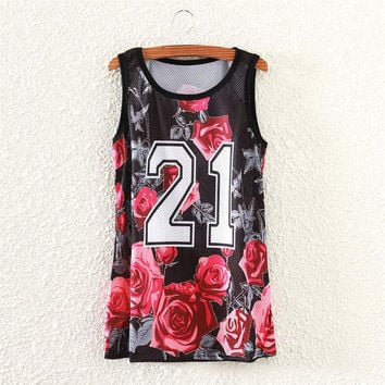 Red rose letters print tank tops women casual casualwear