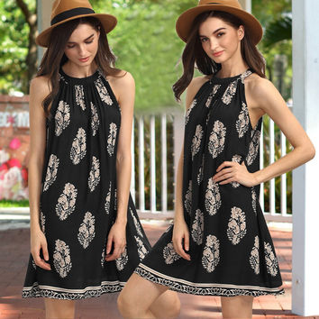 2017 Summer Sexy Women A Line Halter floral print  Waterfall hem Casual strapless off shoulder Mini Dress C805