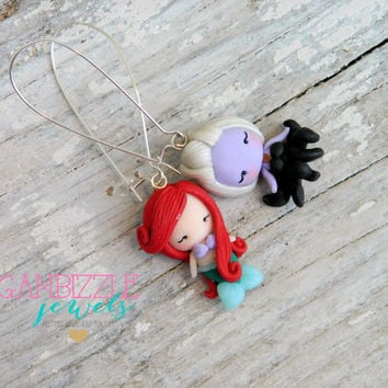 Little Mermaid jewelry, Ariel and ursula, mermaid earrings, little mermaid, princess ariel, flounder clay charm