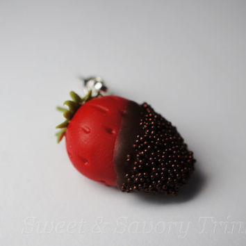 Valentines Day Charm, Chocolate Dipped Strawberry Charm, Miniature Food Jewelry
