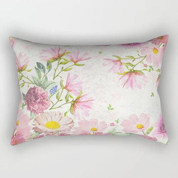 Floral Rectangular Pillow, Flower Throw Pillow, Floral Pillows, Floral Bed Pillow, Floral Accent Pillows, Botanical Pillow, Dorm Pillows