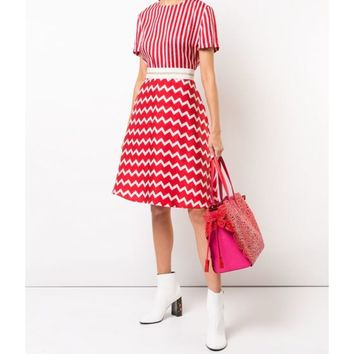 Stella McCartney Striped Zigzag T-Shirt Dress - Red/White Round Neck T Shirt Dress