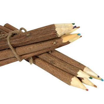 Hand Carved Neem Wood Color Pencils from India