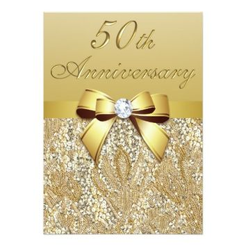 50th Gold Wedding Anniversary Faux Sequins and Bow 5x7 Paper Invitation Card
