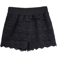 Black Floral Crochet Lace Shorts - Sheinside.com