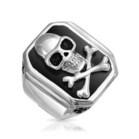 Bling Jewelry Mens Skull Onyx Ring