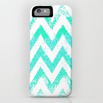 mint chevron iPhone & iPod Case by Marianna Tankelevich
