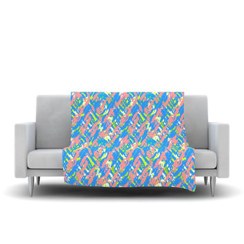 "Nandita Singh ""Abstract Print Blue"" Blue Pink Fleece Throw Blanket"