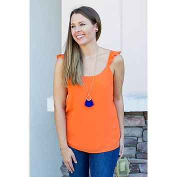 Pleated Right Tank Top - Orange