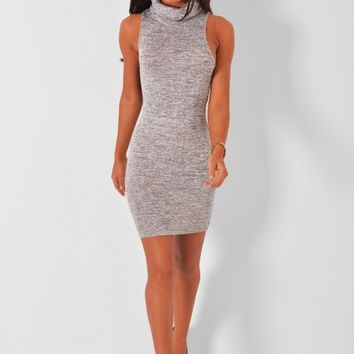 Calabasas Grey Cowl Neck Mini Dress - New In | Pink Boutique