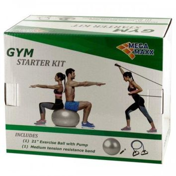 Gym Starter Kit With Exercise Ball Pump amp; Resistance Band