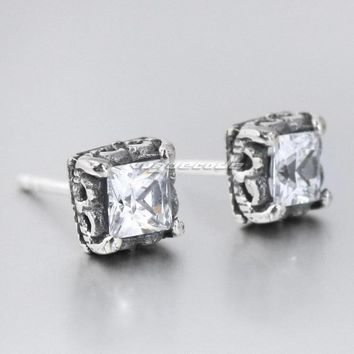 925 Sterling Silver Square White CZ Mens Biker Rocker Stud Earring 8R019(1pair)