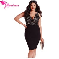 Dear-Lover spaghetti strap club dresses for large size women Plus Size Women Clothing XXL XXXL Lace Plunge Midi Dress LC60728