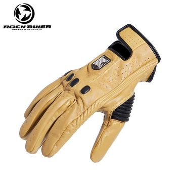 ROCK BIKER Motorcycle Vintage Gloves leather touch screen windproof men's black yellow gloves guantes moto luva motocross S~XXL