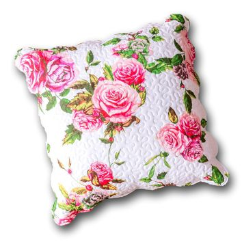 "DaDa Bedding Romantic Roses Spring Floral Pink Euro Pillow Sham Cover, 26"" x 26"" (JHW879)"