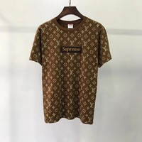 Supreme x Louis Vuitton Women Fashion Short Sleeve Pure cotton Print Round collar Top