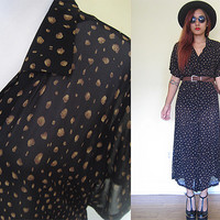 Vintage 90's sheer black shirt dress maxi button down grunge