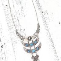 With Love From CA Silver Turquoise Statement Necklace - Womens Jewelry - Silver - One