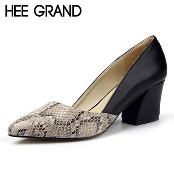 HEE GRAND Serpentine High Heels Sexy Patchwork Elegant Pumps Low Heels Platform Women Casual Shoes Slip On Shoes Woman WXG213