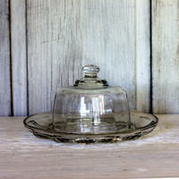 vintage glass cheese plate and dome cover // cheese and cracker server