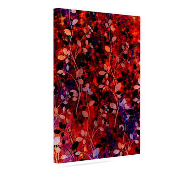"Ebi Emporium ""Amongst the Flowers - Summer Nights"" Red Black Canvas Art"