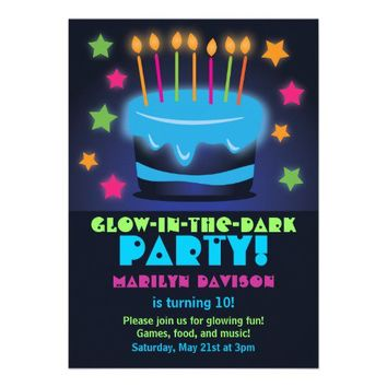 Invitations for Birthday Glow in the Dark Party from Zazzle.com