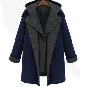 Dark Blue Double Breasted Thick  Hooded Woolen Lapel Coat