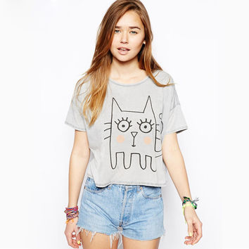 2017 Brand Summer T-shirts Women Cute Meow Casual T-shirt Printing Fashion Gray Loose Funny T Shirts Femme cotton comfortable