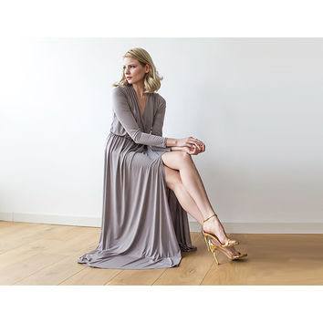 Taupe long sleeve maxi wrap dress with high slit