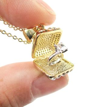 3D Diamond Ring Love Proposal Pendant Necklace in Gold | Anniversary Gifts