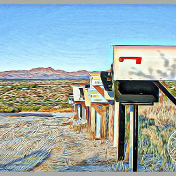 Country Living Abstract Color Art Photography Wall Art Decor Southwest Art Arizona Desert Art Mailboxes