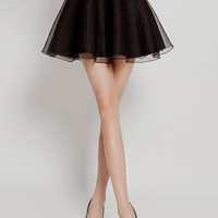 Black Mesh Overlay A-Line Mini Skater Skirt