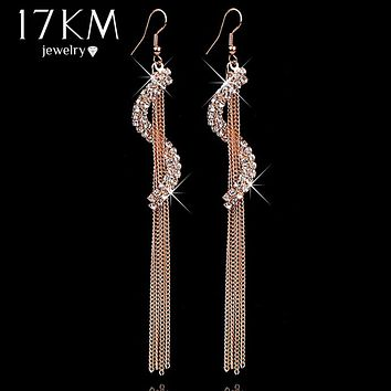 17KM Christmas gifts Brand Charm bridal jewelry Geometric letters rhinestone tassel personality Crystal earrings for women