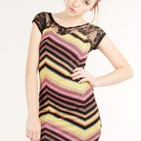 YELLOW LACE MISSONI KNIT DRESS @ KiwiLook fashion